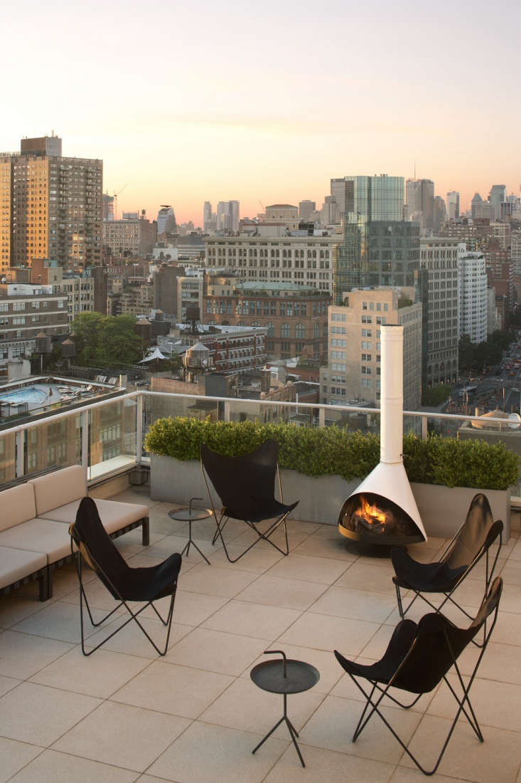 An outdoor dining area for a Bowery penthouse in Manhattan. for more, see Magdalena Keck Interior Design in our Architect and Designer Directory. Photograph by Jeff Cate.