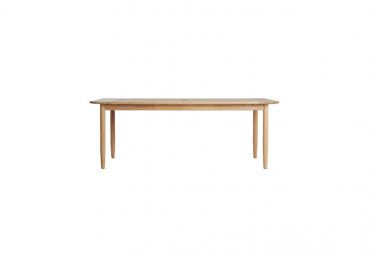 An 80-inchTerassi Dining Table by husband-and-wife designers Julie and Mika Tolvanen of Helsinki is 60 inches long and made of teak; $