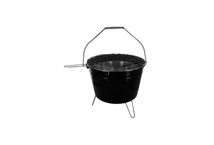 The Bar-B-Q Time Barbecue Bucket with Handle is a black enamel bucket with a stainless grate; \$\2\1 at Amazon.
