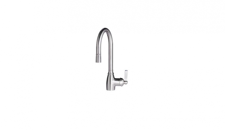 A stainless steelElverdam kitchen faucet has a single lever; \$\179.