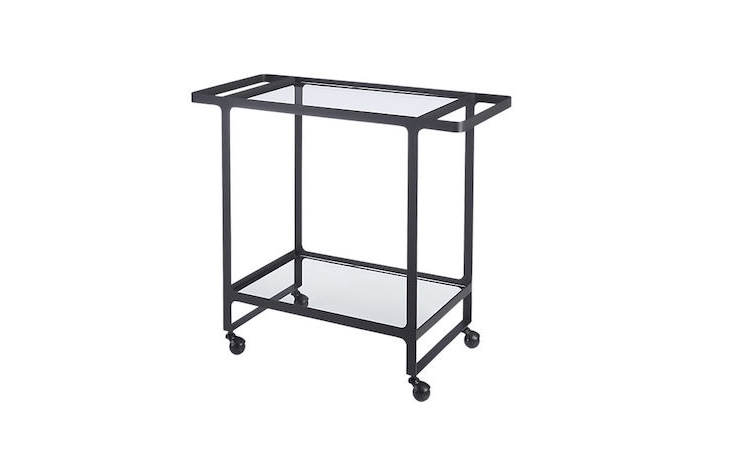 A Dolce Vita Outdoor Bar Cart has an iron frame and tempered glass shelves; \$\269 from CB\2.