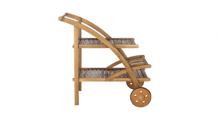 A small Outdoor Wood Bar Cart is \$349 (online only) from West Elm.