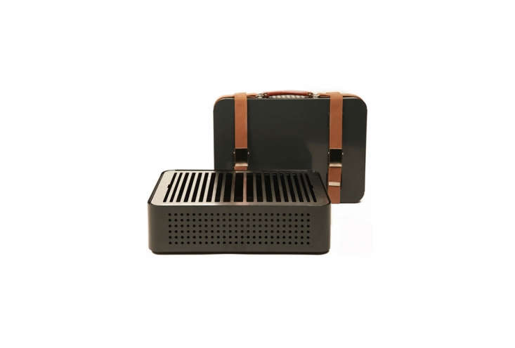 Designed by RS Barcelona and Mermelada Estudio, the Mon Oncle V\2 Barbecue is a lightweight portable grill that packs up into what looks like a retro suitcase, leather straps and all; \$390 at A + R Store.