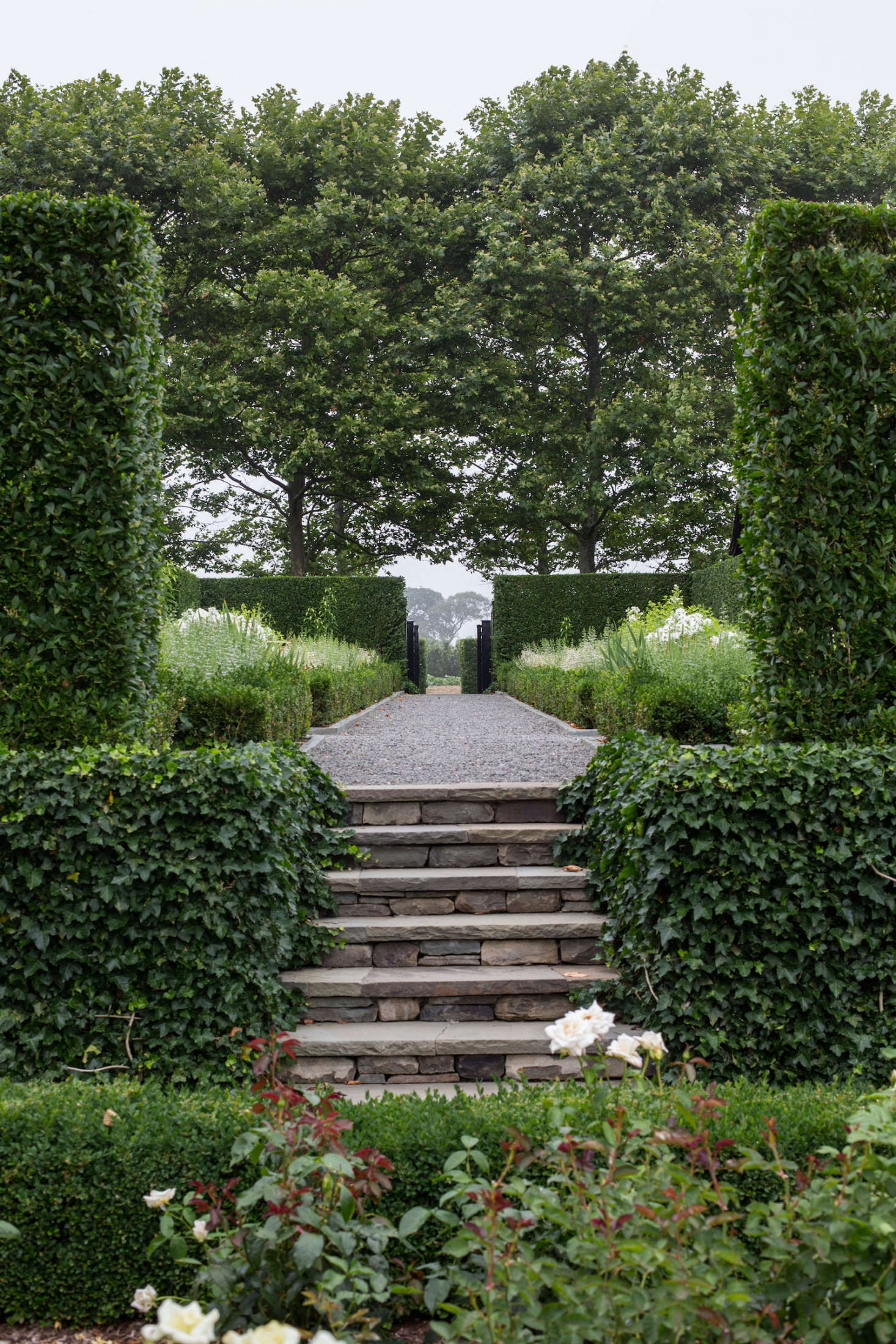 Stairway gravel paths hedges Watermill NY garden Quincy Hammond