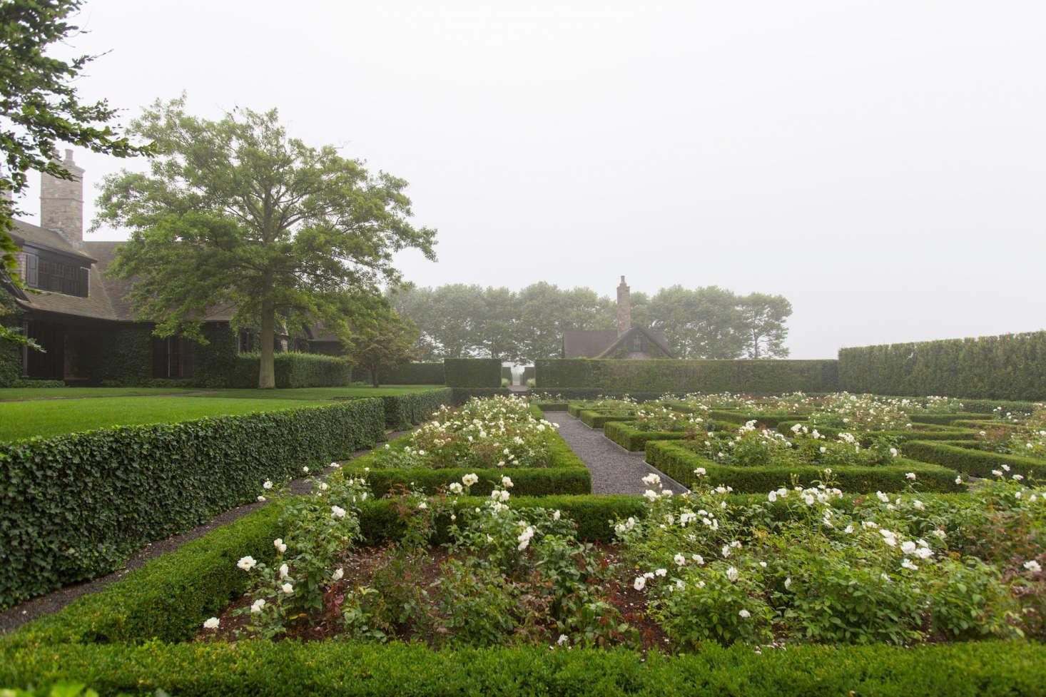 Sunken rose garden boxwood hedges Watermill NY garden Quincy Hammond