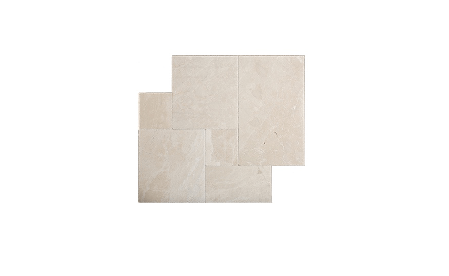 A lighter look; French Pattern Crema Pearl Tumbled Marble Pavers. For specs and prices, see Stone Mart.