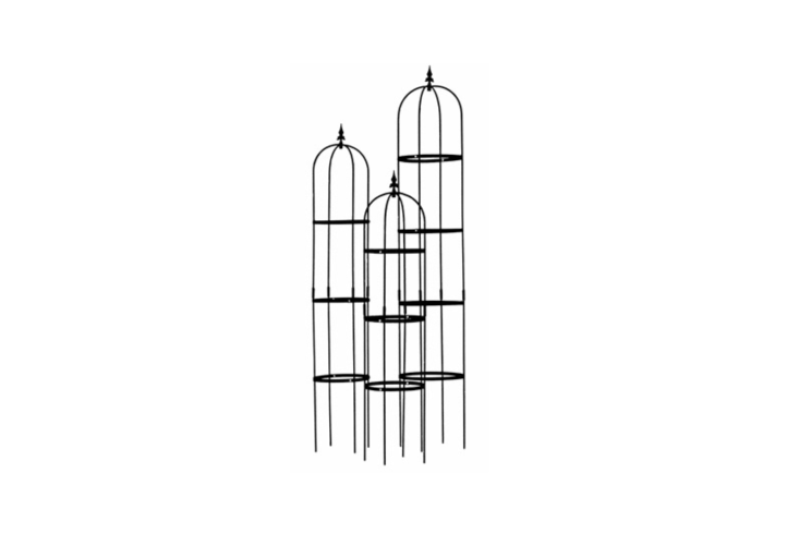 A trio of Rose Pillar Obelisks made of black powder-coated steel with heights ranging from 6\2 to 86 inches is available seasonally for \$\233.50; for next shipping dates, see Kinsman Garden.