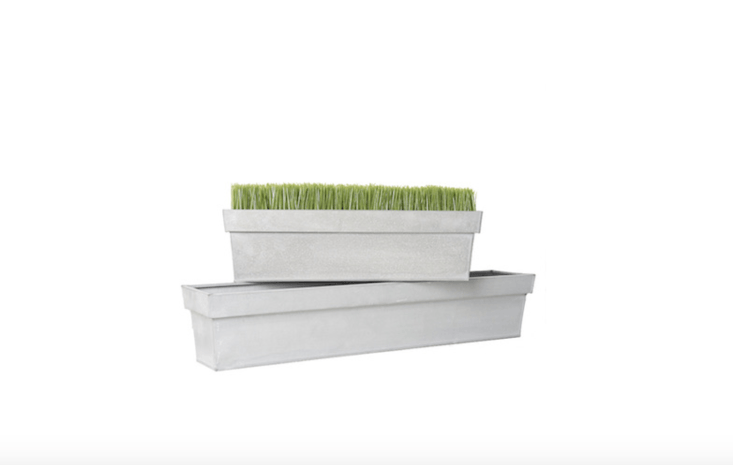 AGrey Zinc Window Box available in two lengths (\23.75 and 35.5 inches); \$\17.99 and \$\24.99 at Jamali Garden.
