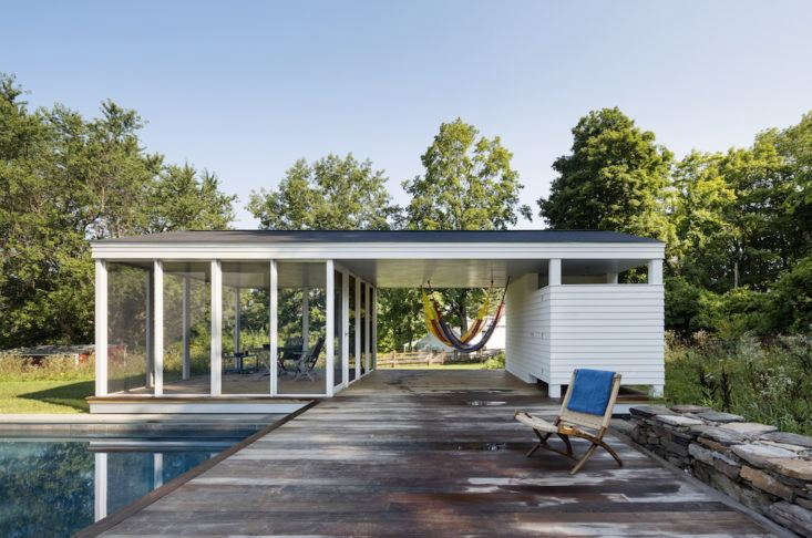 In the Berkshires, Rose and Devin O'Neill of O'Neill Rose Architects in Brooklyn found a way to solve the problem—by orienting a pool and pavilion in a field for maximum enjoyment of the property&#8