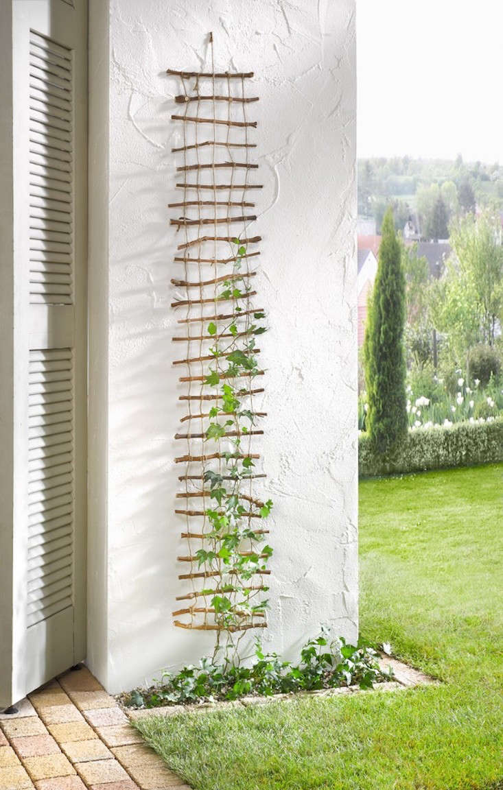 A Decorative Lattice of twigs held together by hemp cord measures 0 by  centimeters and is €4.50 from Frank Flechtwaren.