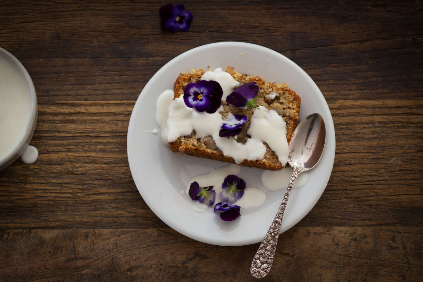 Edible pansies pair well with our Recipe: Amaranth Banana Bread, Flowers Optional.
