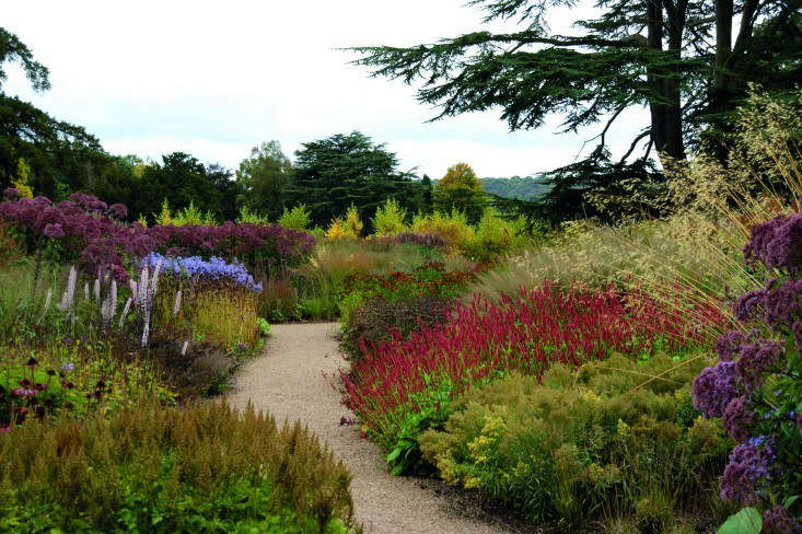 """In long borders he designed to flank a pathway at The Trentham Estate in England, Oudolf punctuated the landscape with several clumps of identical grasses. """"Repeating plants at regular intervals adds rhythm and variation,"""" says Oudolf. """"It creates a feeling that 'this is one place, with one design and one vision."""" Photographvia Hummelo courtesy of The Monacelli Press."""