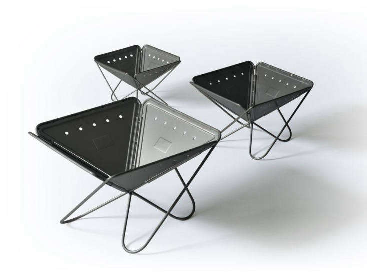 Looking for a fully portable solution? Try the stainless steel Takibi Pack & Carry Fireplace, designed and built in Niigata, Japan; \$\189.95 for the large. Add a grate on top to turn it into a grill.