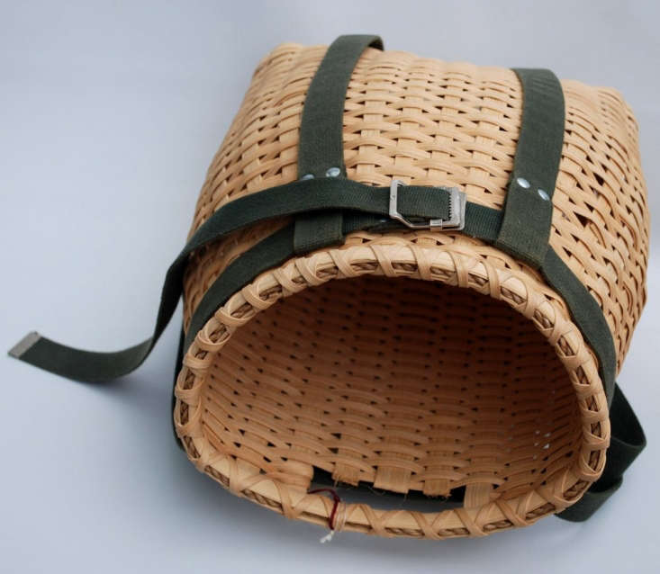 Minnesota basket maker Claire Swanson will weave a custom knapsack basket to order. Made by hand, no two are exactly alike. The straps make it versatile: hang it from a hook to hold tools or garden supplies. For prices and more information, see Claire Swanson on Etsy.