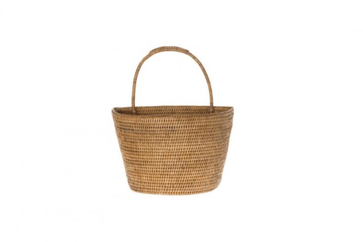 A handwoven Rattan Wall Basket will hang flat; \$49.50 from Kouboo.