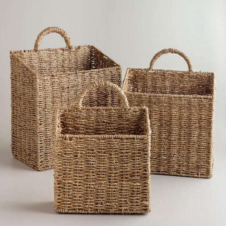 Available in three sizes, handwoven Rachael Wall Baskets are made of sea grass;\$7.99 to \$\14.99, depending on size at World Market.