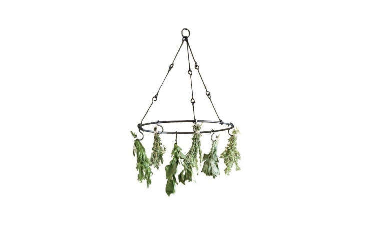 From Esschert, a circular metal Herb Drying Rack is $.95 from Williams Sonoma.