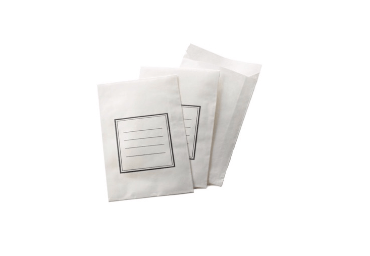 Crisp whiteLittle Paper Envelopes with lines for seed-saving notes;\100 seed packets available for €8 from Manufactum.