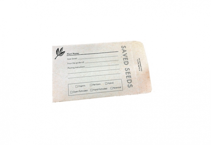 The Seattle Seed Company sells packets of eightSeed Saving Envelopes for \$4.95. Pre-printed spaces for record keeping include options for labeling seeds as organic, heirloom, hybrid, open-pollinated, hand-pollinated, and/or perennial.