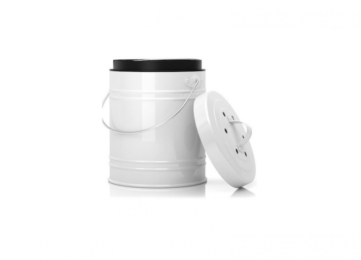 A large \1.3-gallon Compost Bin With Plastic Liner is dishwasher safe; \$\29.99 from Amazon.
