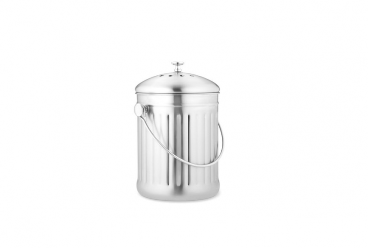 A \1-gallon Brushed Stainless Steel Composter has a charcoal filter in the lid to absorb odors; it&#8\2\17;s on sale for \$3\1.99 from Williams-Sonoma.