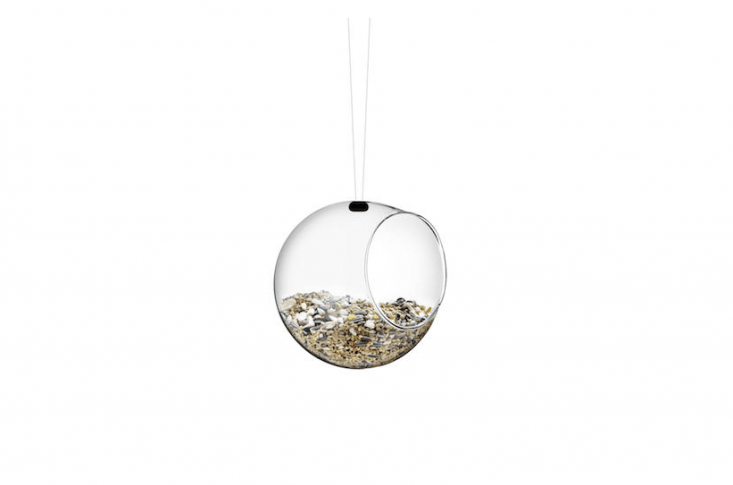 A set of two borosilicate glass Mini Bird Feeders by designer Eva Solo is \$34.85 from Finnish Design Shop.