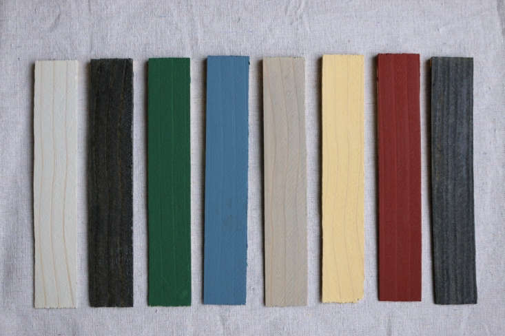 Above, left to right: Behr Semi-Transparent in Cape Cod Gray;Timber Pro UV Semi-Transparent in Ebony;Olympic Solid in Forest; Olympic Solid in Wedgewood; Behr Semi-Transparent in Chatham Fog; Behr Semi-Transparent in Colonial Yellow; Olympic Solid in Winning Red; andBehr Semi-Transparent in Slate.