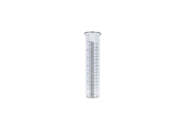 TheGlass Tube Rain Gaugemeasures up to 7 inches of rainfall and is \$6.99 at Herrschners.