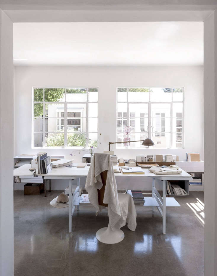 If what you want are white walls, you must check out light-filled Michaela Scherrer&#8\2\17;s home office, which features a shade custom-mixed by her. Learn how she does it in DIY: How to Mix the Perfect White Paint with LA Designer Michaela Scherrer. This office also shows up in this week&#8\2\17;s \19 Home Offices We Love, Remote Work Edition. Photograph by Matthew Williams for Remodelista.