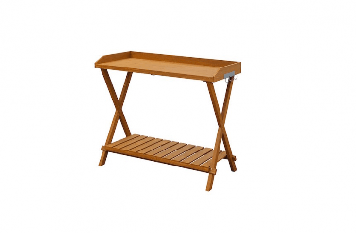 A 39.5-inch long folding woodenPotting Bench has a slatted bottom and is $40.9loading=