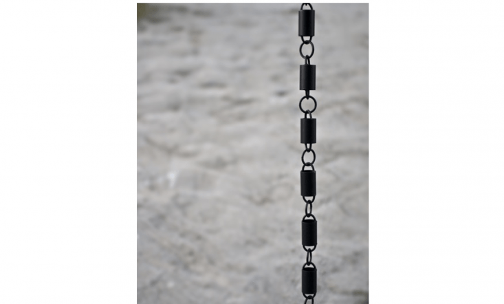 The Channel Link Black Rain Chainis made of high quality aluminum finished in flat black powder coating;\$49.95 for an 8.5-foot length chain at Rain Chains Direct.