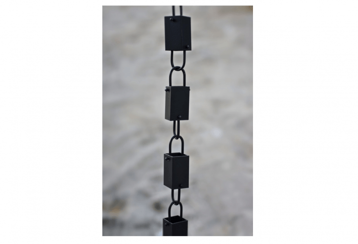 A Square Link Black Rain Chainis made of high quality aluminum finished in a flat black powder coating. Itis \$49.95 for an 8.5-foot length at Rain Chains Direct.