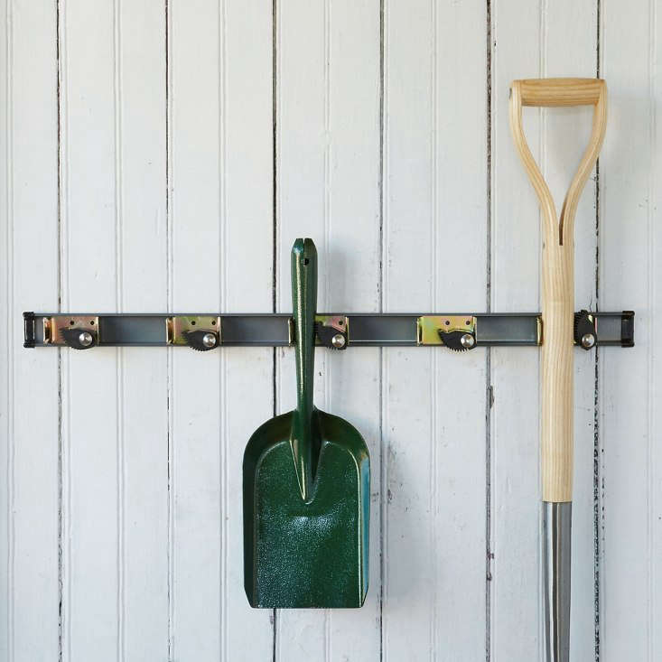 Favor good old-fashioned hook racks? Consider the Garden Tool Rack made of powder coated steel with five adjustable rubber clips; $38 from Terrain.