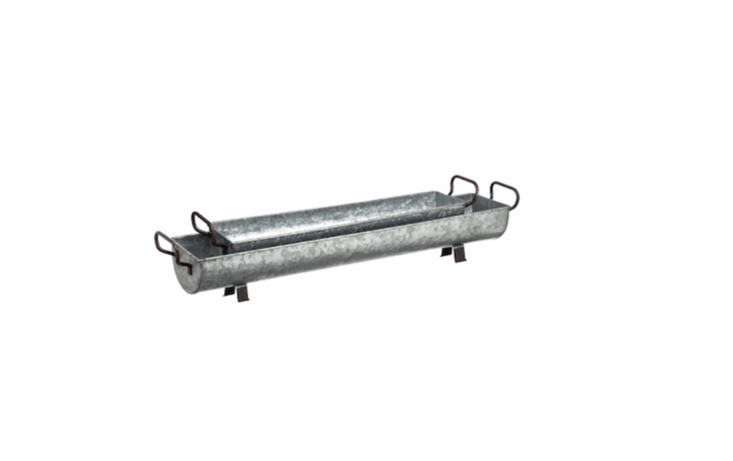 A Whitton Galvanized \2-Piece Metal Trough Set (measuring \26.6 and 34.75 inches long, respectively) is \$57.99 from Wayfair.