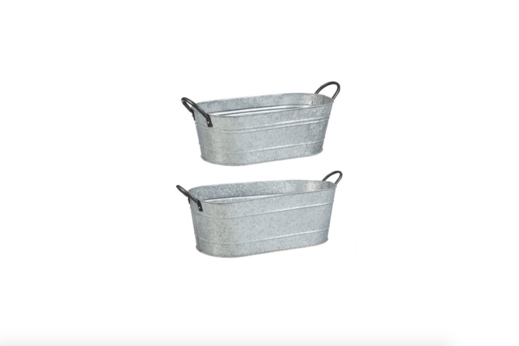 A set of two \24.75-inch-long Evergreen Garden Urban Garden Galvanized Metal Containers is \$49.99 from Amazon.