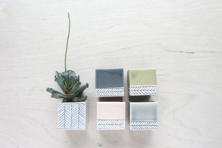 Ceramist Elizabeth Benotti hand forms these pleasingly pale mini planters (also shown in the top photo) in her New Hampshire studio. Available by custom order, her Small Square Herringbone Plantercomes in pastel colors; $30 apiece.