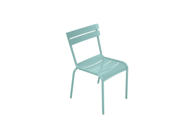 A Remodelista favorite, the FermobLuxembourg Side Chair shown in soft Lagoon Blue; \$\1,477 for a set of four at Y Living.