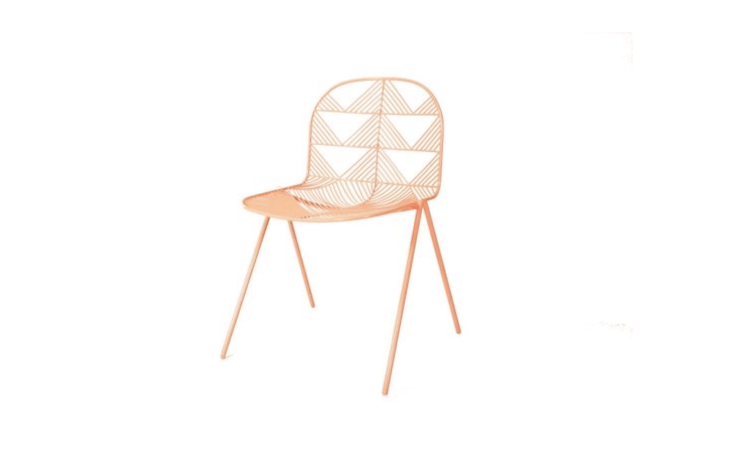 Made of hot-dip galvanized iron, a Betty Stacking chair in peachy pink is rust resistant; \$450 from LA-based Bend Goods.