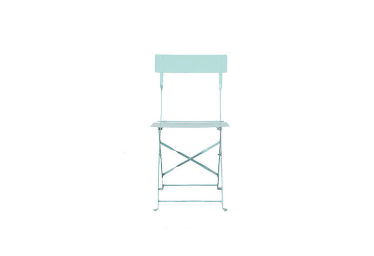 A collapsible Painted Metal Bistro Chair available in six colors including a spring-y mint is \$78 from Terrain.