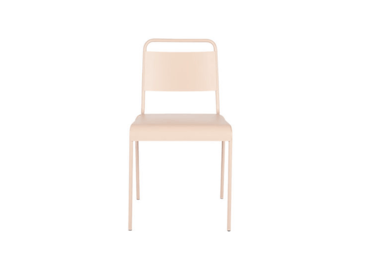 Made of iron, a Lucinda Stacking Chair in dusty pink is \$69.95 from CB\2.