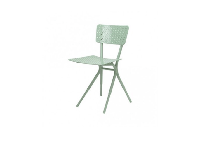 Designed by Wieke Somers for Tectona, the Grasshopper Chair is made of powder-coated aluminum in grasshopper green; €\270 through Tectona.