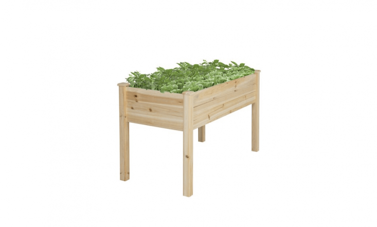 A Rectangular Wooden Raised Garden Bed is 46 inches long and \2\2 inches wide; \$\109.99 from BCP.