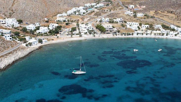 Harbor sailboat Folegandros island Greece