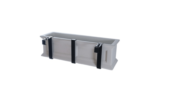 A 36-inch-long Cape Cod Window Box is made of resin and available in three colors including white as shown; \$\1\19.99 from All Planters. A pair of metal Adjustable Deck Railing Brackets is sold separately for \$36.99.