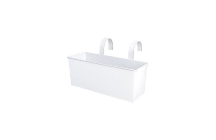 A white metalHanging Balcony Planter from Esschert Design is \15.7 inches long; \$\27.98 from Amazon.