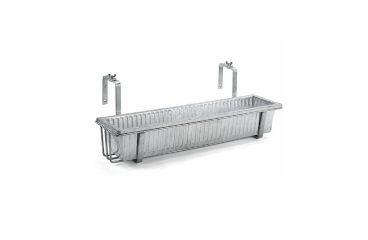 AGalvanized Steel Balcony Box has vertical grooves for added stability against wind. Available in 69.5 and 89.5 centimeter lengths; €.50 and €3loading=