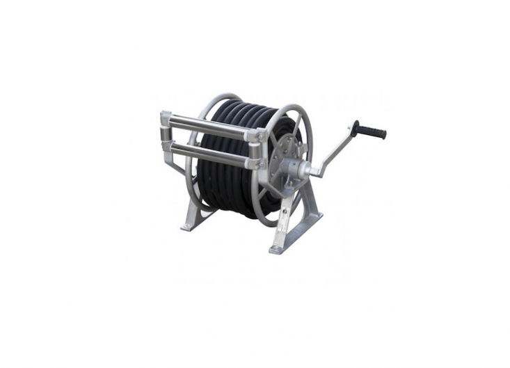 A Manual Rewind Hose Reelcan be customized to fit several diameters and lengths of garden hose. Made of aluminum, it can be ordered with or without wheels; for more information and pricing, visit Perth, Australia-based dealer Real Ezy.