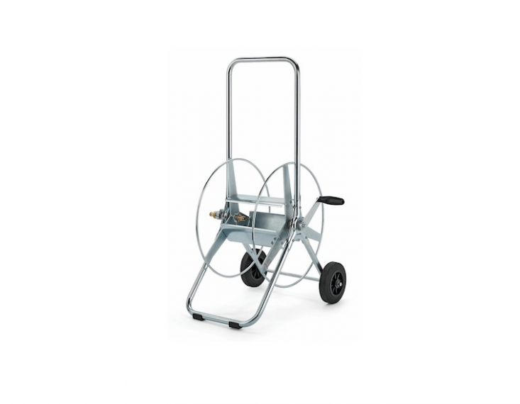 For a portable version, consider a hose reel on wheels. A Swiss-madeSmall Steel Hose Trolley has a steel frame, rubber wheels, and a comfortably sized hand crank. The Cadillac of hose reels, it is designed to be &#8\2\20;the last one you&#8\2\17;ll purchase.&#8\2\2\1; It is €3\16 at Manufactum.