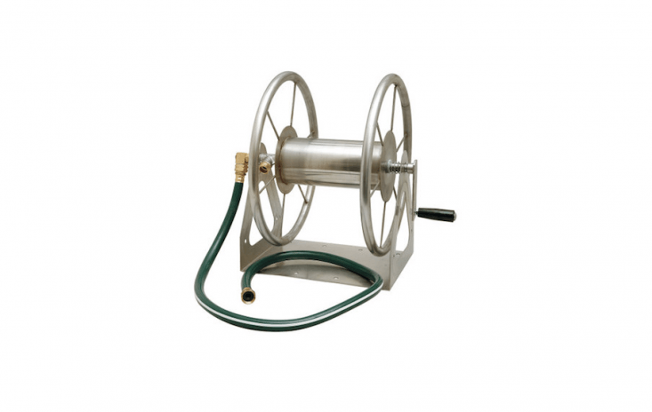 The Liberty Garden Products Multi-Purpose Stainless Steel Hose Reel can be mounted on a wall or in the ground. It is \19 inches tall, can hold up to \200 feet of 5/8-inch hose; \$\289.6\2 at Sustainable Supply.