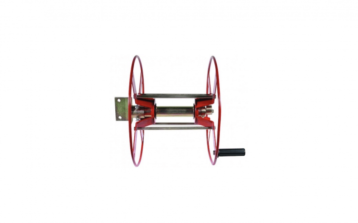 Delight your inner firefighter with this oversize post-mounted number that holds 400 feet of hose on a powder-coated steel frame. Special orderHRG-400FT-FIT from Valley Industries in Minnesota 800-864-\1649;\$\157.45with an extra fitting for garden hoses.